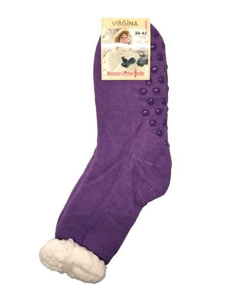 Výrobky z ovčej vlny - Spacie ponožky jednofarebné fialové