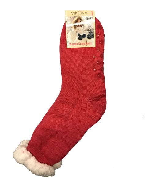 Výrobky z ovčej vlny - Spacie ponožky jednofarebné tmavo ružové