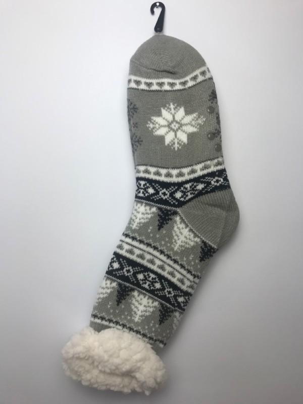 Výrobky z ovčej vlny - Spacie ponožky strom sivé