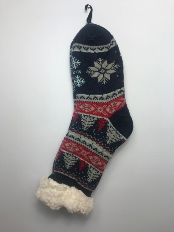 Výrobky z ovčej vlny - Spacie ponožky strom modré