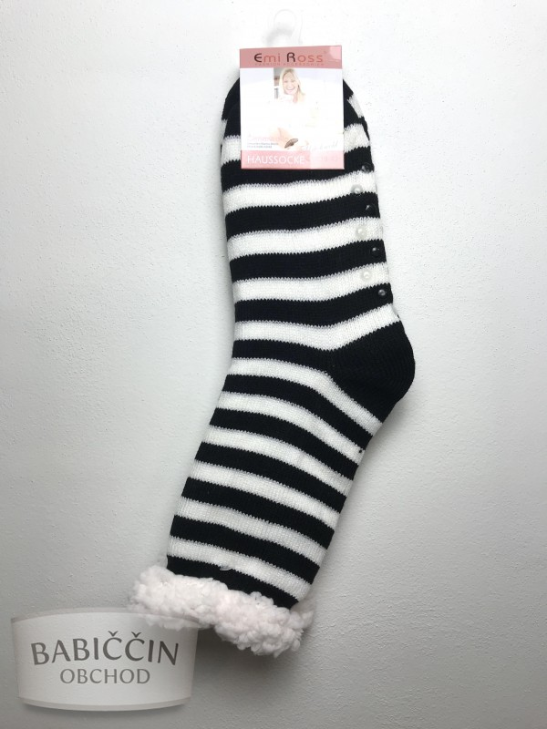 Výrobky z ovčej vlny - Spacie ponožky čiernobiele pruhované