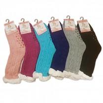 Ponožky spacie pletené tmavo ružové